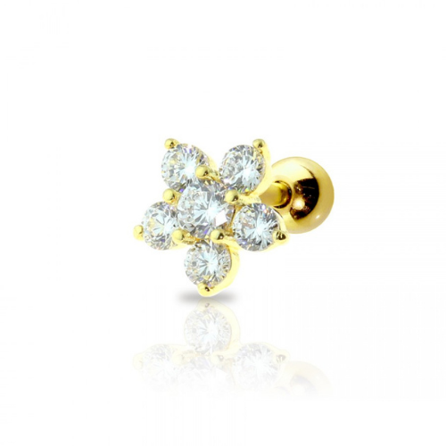 Piercing Orecchio Cartilagine - Helix - Conch - Tragus - Barbell Piercing – Flora 8mm Gold Plated